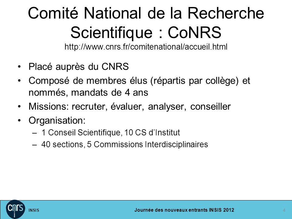INSIS Journée des nouveaux entrants INSIS 2012 4 Placé auprès du CNRS Composé de membres élus (répartis par collège) et nommés, mandats de 4 ans Missi