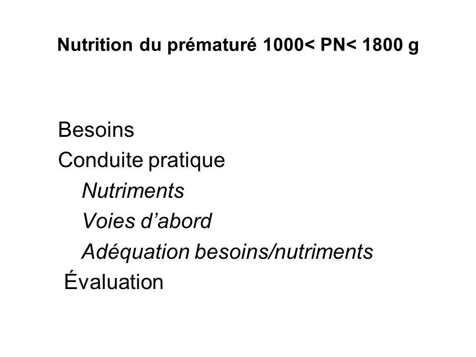 Nutrition du prématuré 1000< PN< 1800 g Besoins Conduite pratique Nutriments Voies dabord Adéquation besoins/nutriments Évaluation