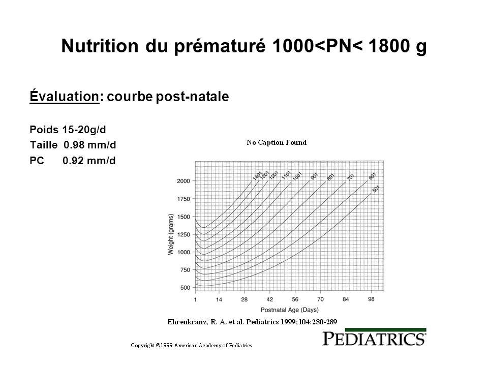Nutrition du prématuré 1000<PN< 1800 g Évaluation: courbe post-natale Poids 15-20g/d Taille 0.98 mm/d PC 0.92 mm/d