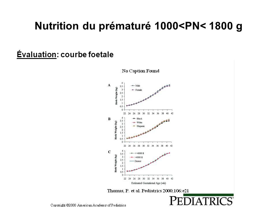Nutrition du prématuré 1000<PN< 1800 g Évaluation: courbe foetale