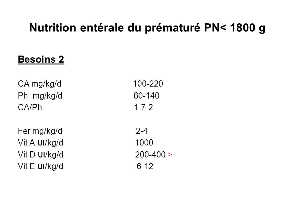 Nutrition entérale du prématuré PN< 1800 g Besoins 2 CA mg/kg/d 100-220 Ph mg/kg/d 60-140 CA/Ph 1.7-2 Fer mg/kg/d 2-4 Vit A UI /kg/d 1000 Vit D UI /kg