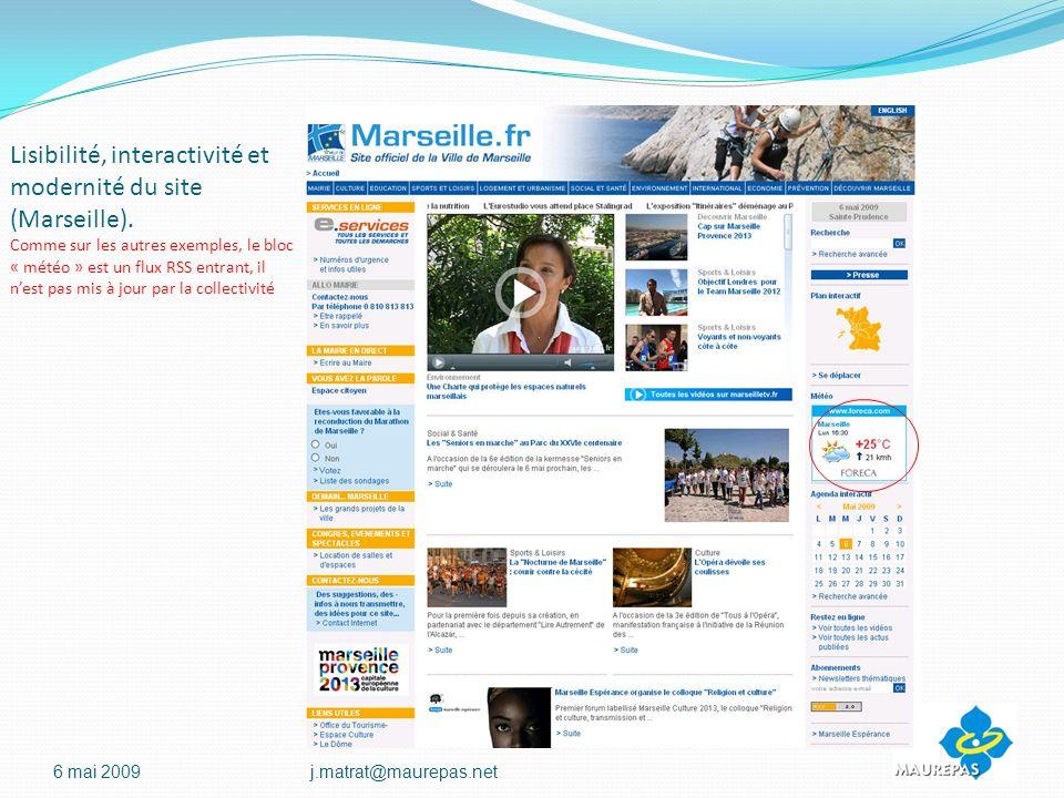 Lisibilité, interactivité et modernité du site (Marseille).