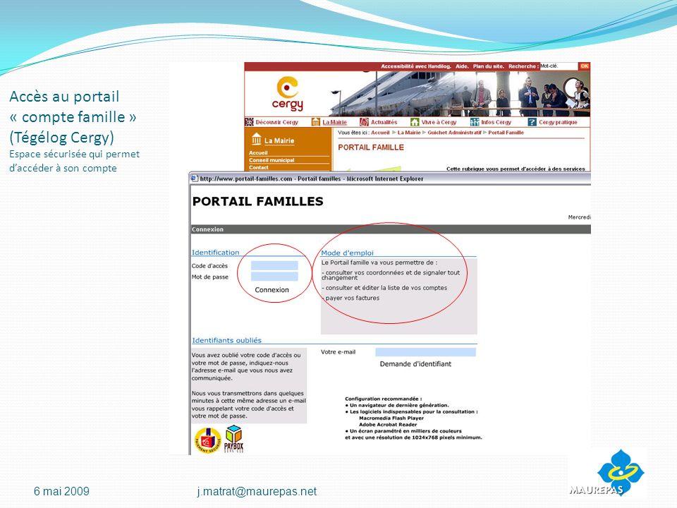 Accès au portail « compte famille » (Tégélog Cergy) Espace sécurisée qui permet daccéder à son compte 6 mai 2009j.matrat@maurepas.net