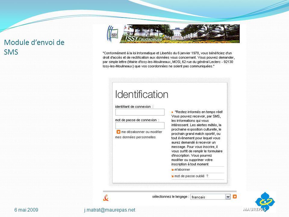 Module denvoi de SMS 6 mai 2009j.matrat@maurepas.net