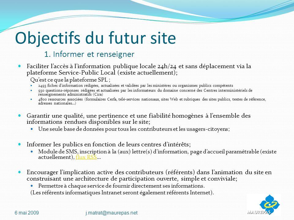 Objectifs du futur site 1.