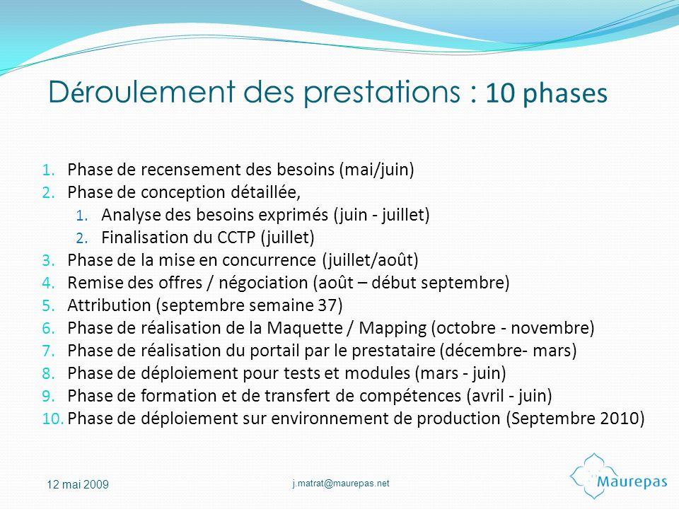 j.matrat@maurepas.net 12 mai 2009 D é roulement des prestations : 10 phases 1. Phase de recensement des besoins (mai/juin) 2. Phase de conception déta