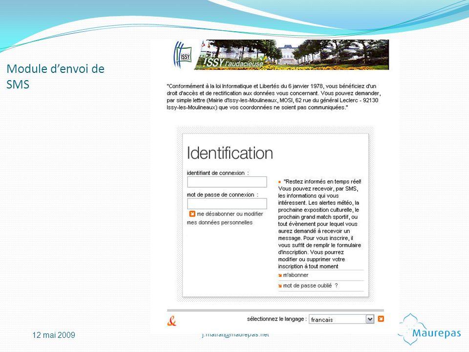 j.matrat@maurepas.net 12 mai 2009 Module denvoi de SMS