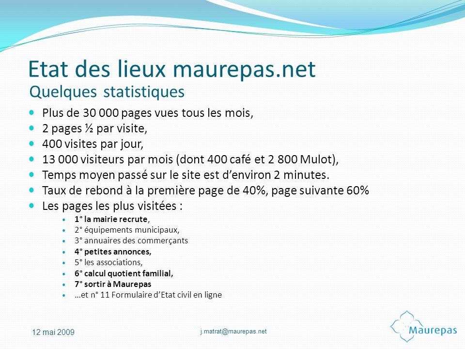 j.matrat@maurepas.net 12 mai 2009 Plus de 30 000 pages vues tous les mois, 2 pages ½ par visite, 400 visites par jour, 13 000 visiteurs par mois (dont