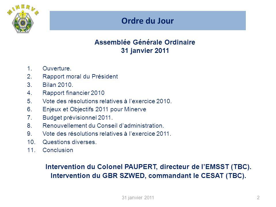 Ordre du Jour 2 1.Ouverture.2.Rapport moral du Président 3.Bilan 2010.