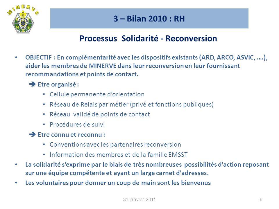 3 – Bilan 2010 : RH OBJECTIF : En complémentarité avec les dispositifs existants (ARD, ARCO, ASVIC, ….), aider les membres de MINERVE dans leur reconversion en leur fournissant recommandations et points de contact.