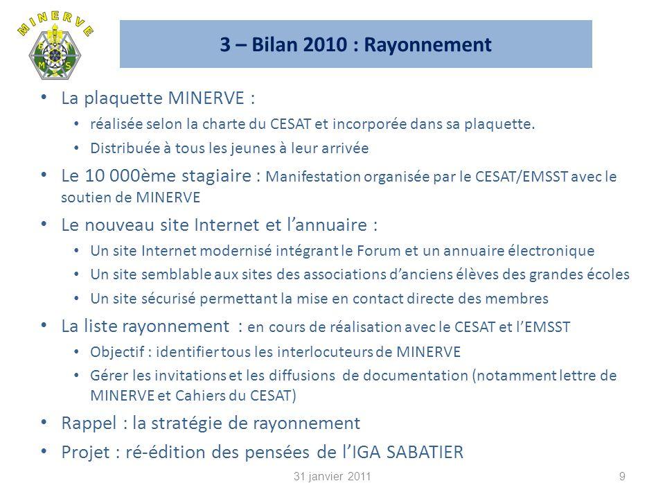 3 – Bilan 2010 : Rayonnement La plaquette MINERVE : réalisée selon la charte du CESAT et incorporée dans sa plaquette.