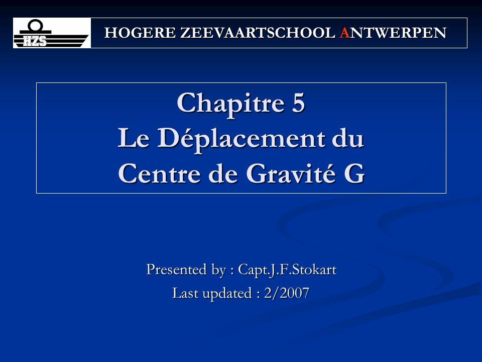 32Chapitre 5 LOI DES GLISSEMENTS Questions A ship displaces 18000 t and has an initial KG of 5.30 m.