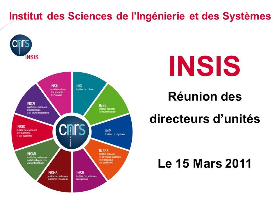 P. 01 INSIS Réunion des directeurs dunités Le 15 Mars 2011 Institut des Sciences de lIngénierie et des Systèmes INSIS