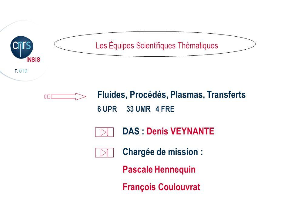 P. 010 INSIS Lorganisation scientifique Les Équipes Scientifiques Thématiques Fluides, Procédés, Plasmas, Transferts 6 UPR 33 UMR4 FRE DAS : Denis VEY