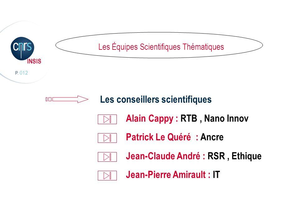 P. 012 INSIS Les Équipes Scientifiques Thématiques Les conseillers scientifiques Alain Cappy : RTB, Nano Innov Patrick Le Quéré : Ancre Jean-Claude An
