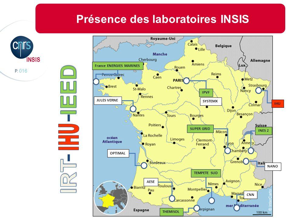 P. 016 INSIS Présence des laboratoires INSIS Dans les IRT Dans les IEED NANO INES 2 SUPER GRID CNN SYSTEMX THEMISOL IPVF AESE JULES VERNE TEMPETE SUD