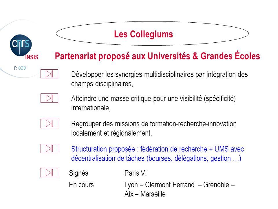 P. 020 INSIS Partenariat proposé aux Universités & Grandes Écoles Développer les synergies multidisciplinaires par intégration des champs disciplinair