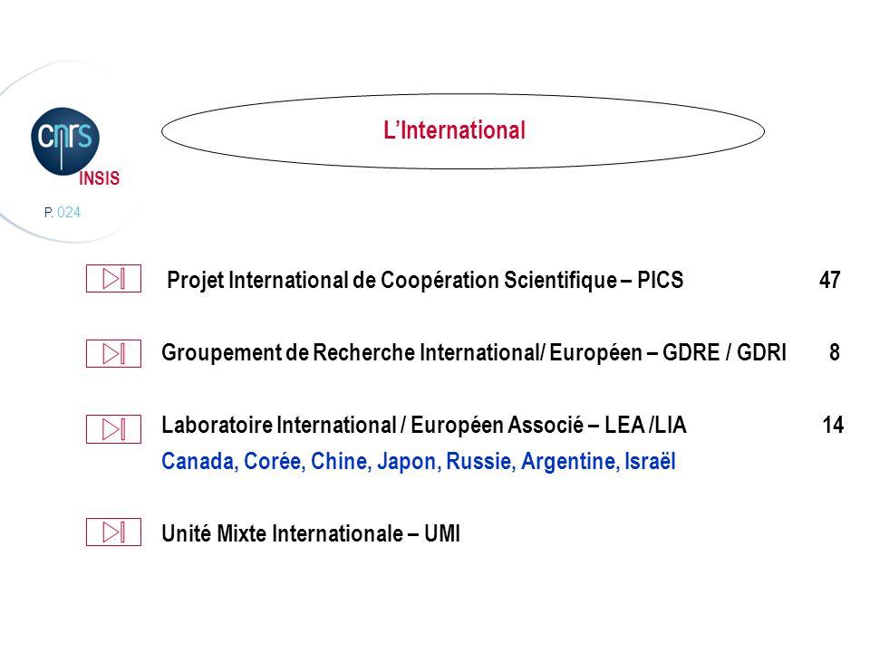 P. 024 INSIS LInternational Projet International de Coopération Scientifique – PICS 47 Groupement de Recherche International/ Européen – GDRE / GDRI 8