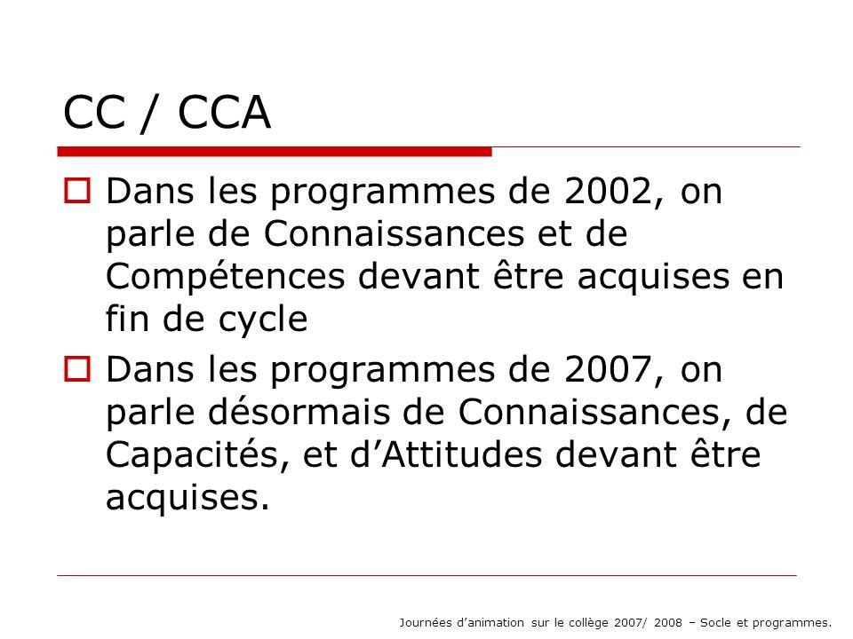 CC / CCA Dans les programmes de 2002, on parle de Connaissances et de Compétences devant être acquises en fin de cycle Dans les programmes de 2007, on parle désormais de Connaissances, de Capacités, et dAttitudes devant être acquises.