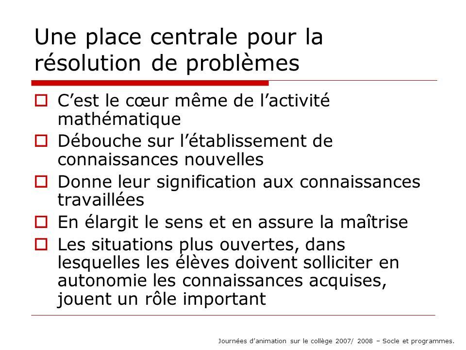 Un exemple de problème (doc daccompagnement des prgm) La maîtresse répartit les élèves en groupes de 3 ou 4 Elle expose le problème : « Voici un jeu de cartes.