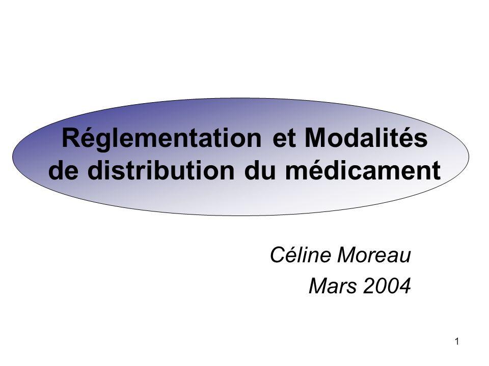 1 Réglementation et Modalités de distribution du médicament Céline Moreau Mars 2004