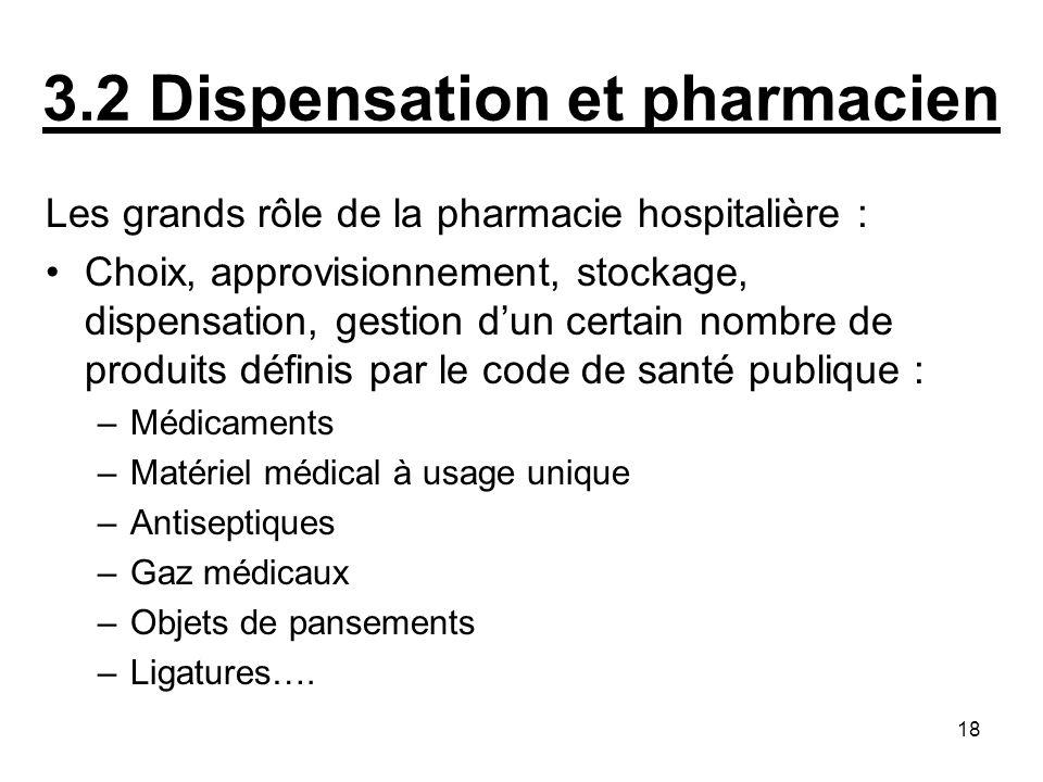18 3.2 Dispensation et pharmacien Les grands rôle de la pharmacie hospitalière : Choix, approvisionnement, stockage, dispensation, gestion dun certain
