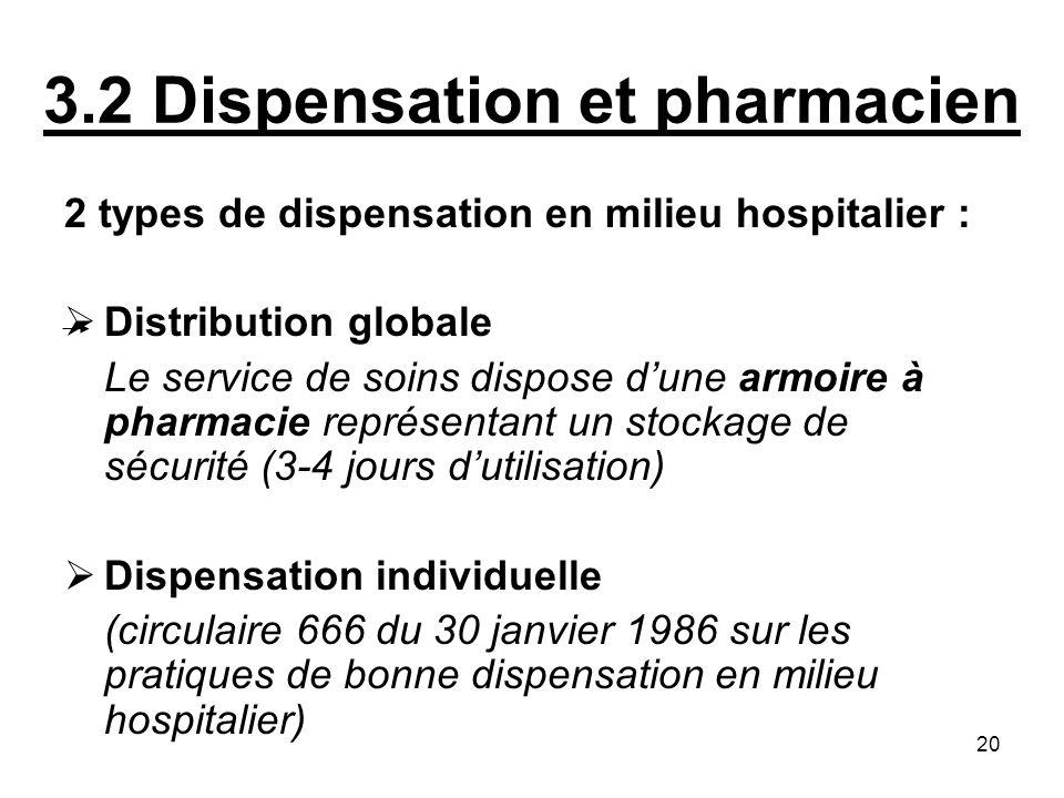 20 3.2 Dispensation et pharmacien 2 types de dispensation en milieu hospitalier : Distribution globale Le service de soins dispose dune armoire à phar