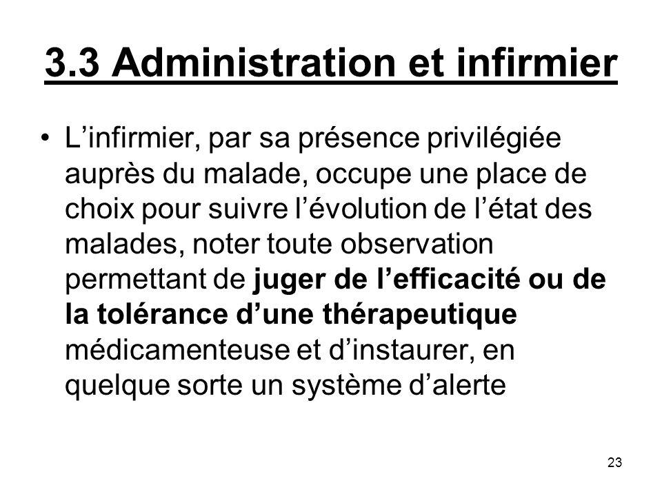 23 3.3 Administration et infirmier Linfirmier, par sa présence privilégiée auprès du malade, occupe une place de choix pour suivre lévolution de létat