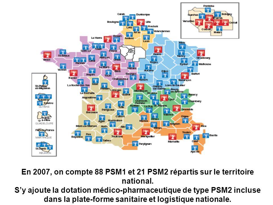 En 2007, on compte 88 PSM1 et 21 PSM2 répartis sur le territoire national. Sy ajoute la dotation médico-pharmaceutique de type PSM2 incluse dans la pl