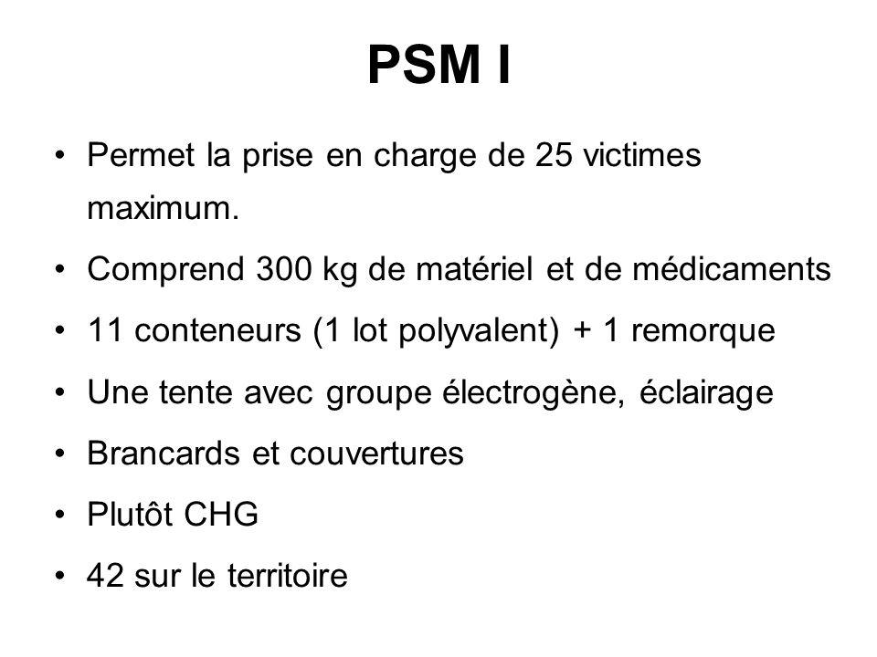 PSM I Permet la prise en charge de 25 victimes maximum. Comprend 300 kg de matériel et de médicaments 11 conteneurs (1 lot polyvalent) + 1 remorque Un