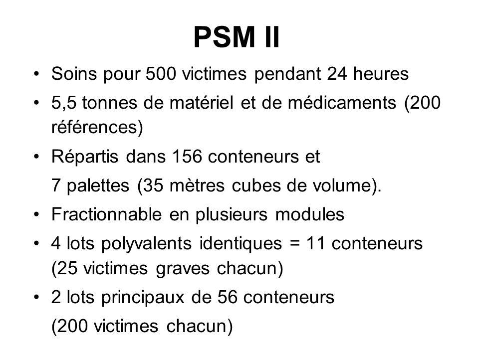 PSM II Soins pour 500 victimes pendant 24 heures 5,5 tonnes de matériel et de médicaments (200 références) Répartis dans 156 conteneurs et 7 palettes