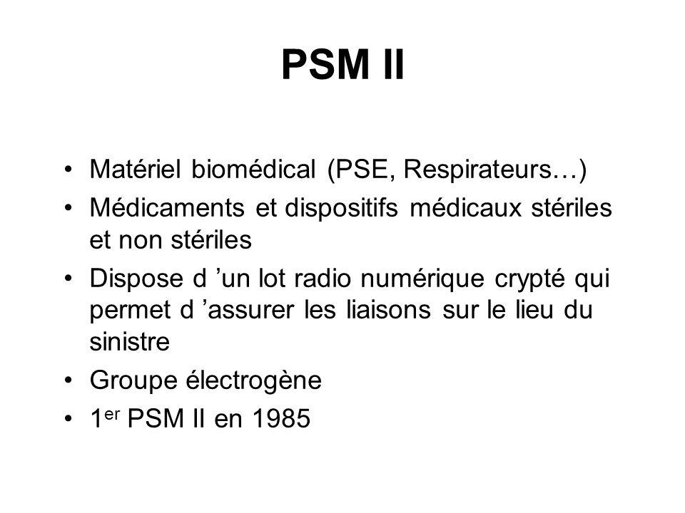 PSM II Matériel biomédical (PSE, Respirateurs…) Médicaments et dispositifs médicaux stériles et non stériles Dispose d un lot radio numérique crypté q