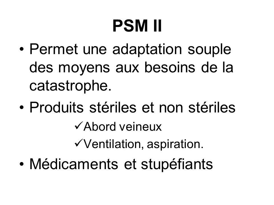 PSM II Permet une adaptation souple des moyens aux besoins de la catastrophe. Produits stériles et non stériles Abord veineux Ventilation, aspiration.