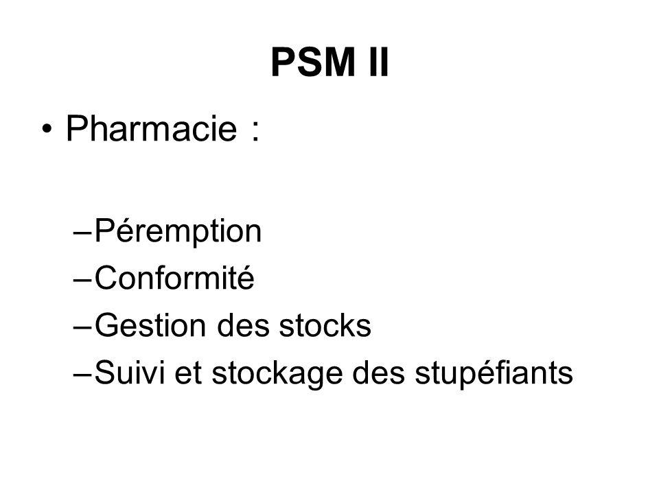 PSM II Pharmacie : –Péremption –Conformité –Gestion des stocks –Suivi et stockage des stupéfiants