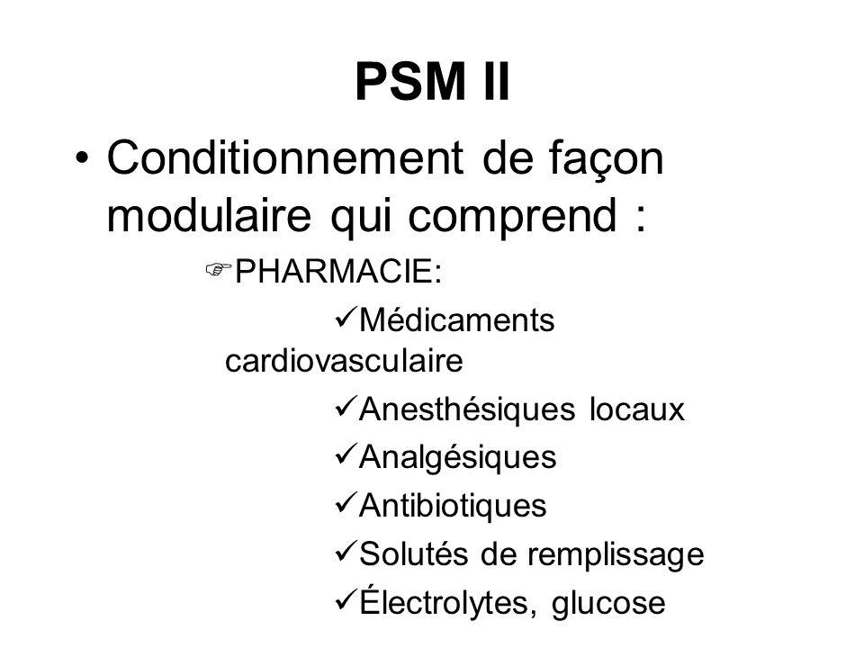 PSM II Conditionnement de façon modulaire qui comprend : PHARMACIE: Médicaments cardiovasculaire Anesthésiques locaux Analgésiques Antibiotiques Solut