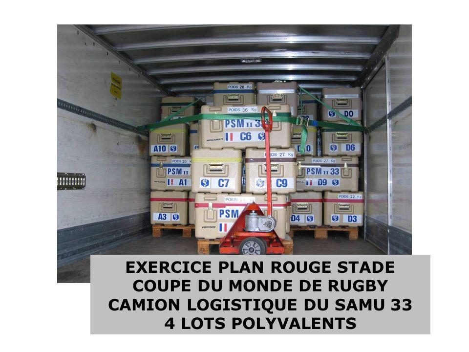 EXERCICE PLAN ROUGE STADE COUPE DU MONDE DE RUGBY CAMION LOGISTIQUE DU SAMU 33 4 LOTS POLYVALENTS
