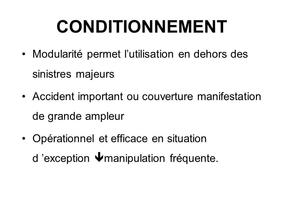 CONDITIONNEMENT Modularité permet lutilisation en dehors des sinistres majeurs Accident important ou couverture manifestation de grande ampleur Opérat