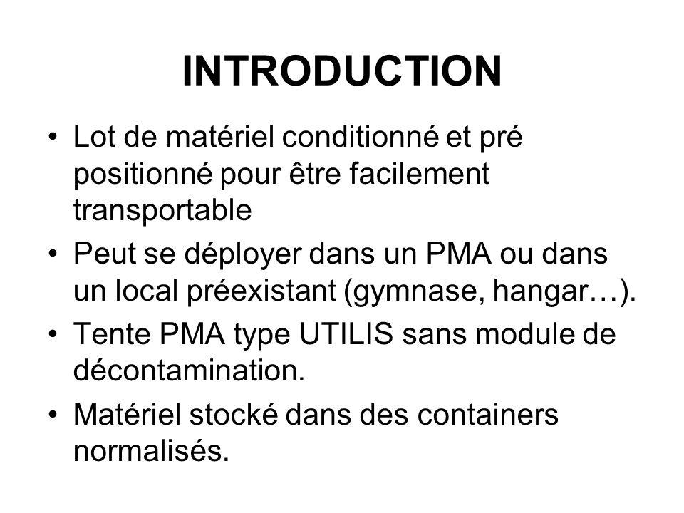 INTRODUCTION Lot de matériel conditionné et pré positionné pour être facilement transportable Peut se déployer dans un PMA ou dans un local préexistan