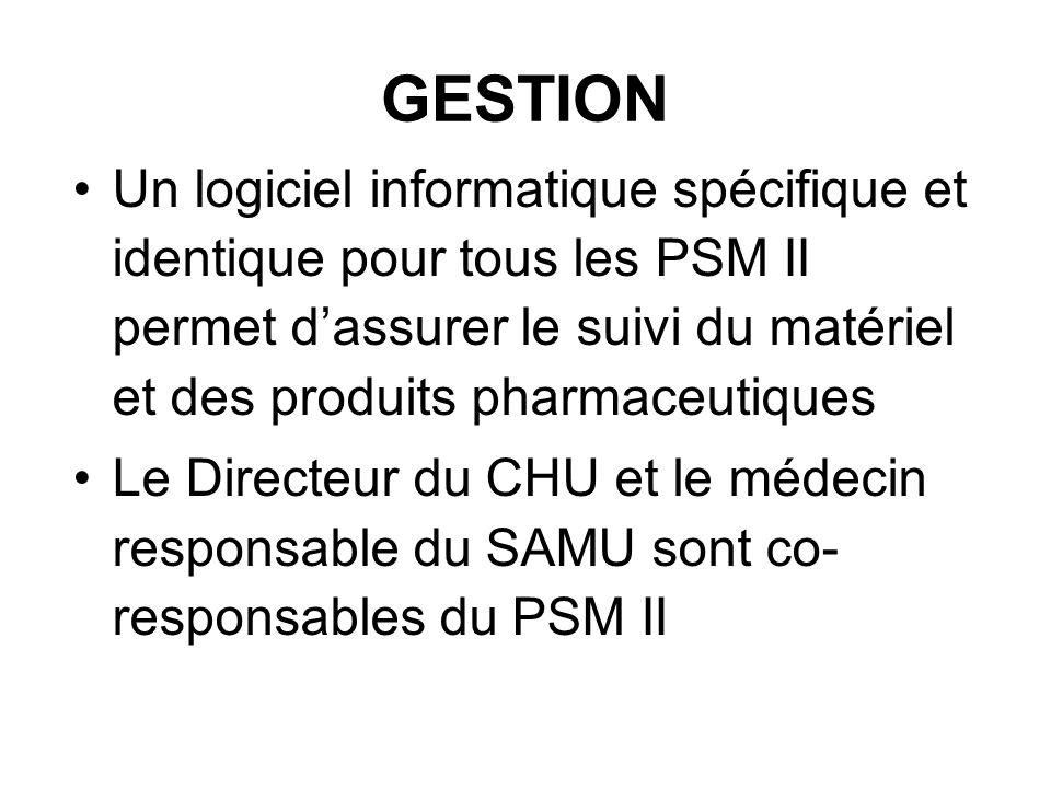 GESTION Un logiciel informatique spécifique et identique pour tous les PSM II permet dassurer le suivi du matériel et des produits pharmaceutiques Le