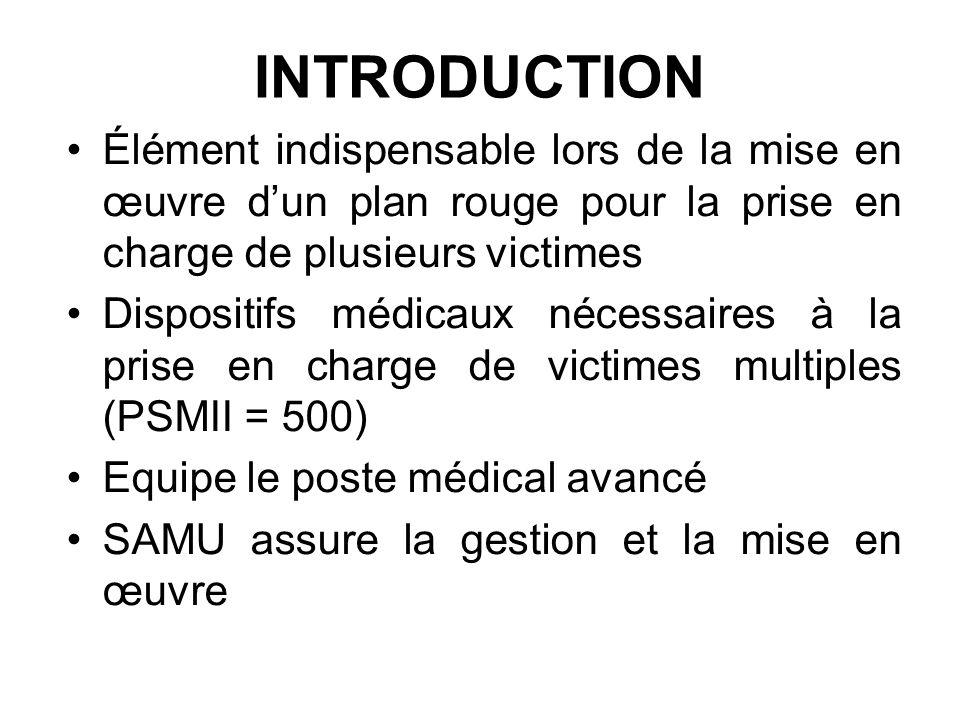 INTRODUCTION Élément indispensable lors de la mise en œuvre dun plan rouge pour la prise en charge de plusieurs victimes Dispositifs médicaux nécessai