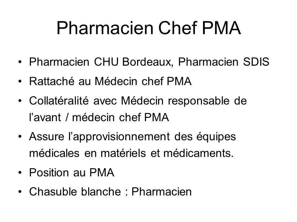 Pharmacien Chef PMA Pharmacien CHU Bordeaux, Pharmacien SDIS Rattaché au Médecin chef PMA Collatéralité avec Médecin responsable de lavant / médecin c
