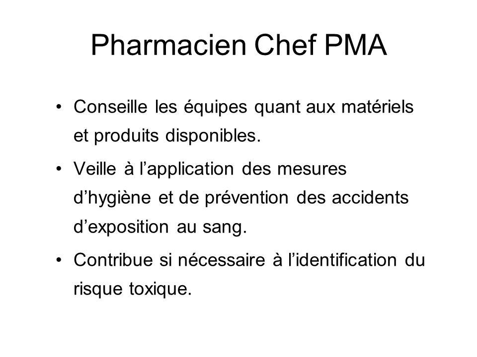 Pharmacien Chef PMA Conseille les équipes quant aux matériels et produits disponibles. Veille à lapplication des mesures dhygiène et de prévention des