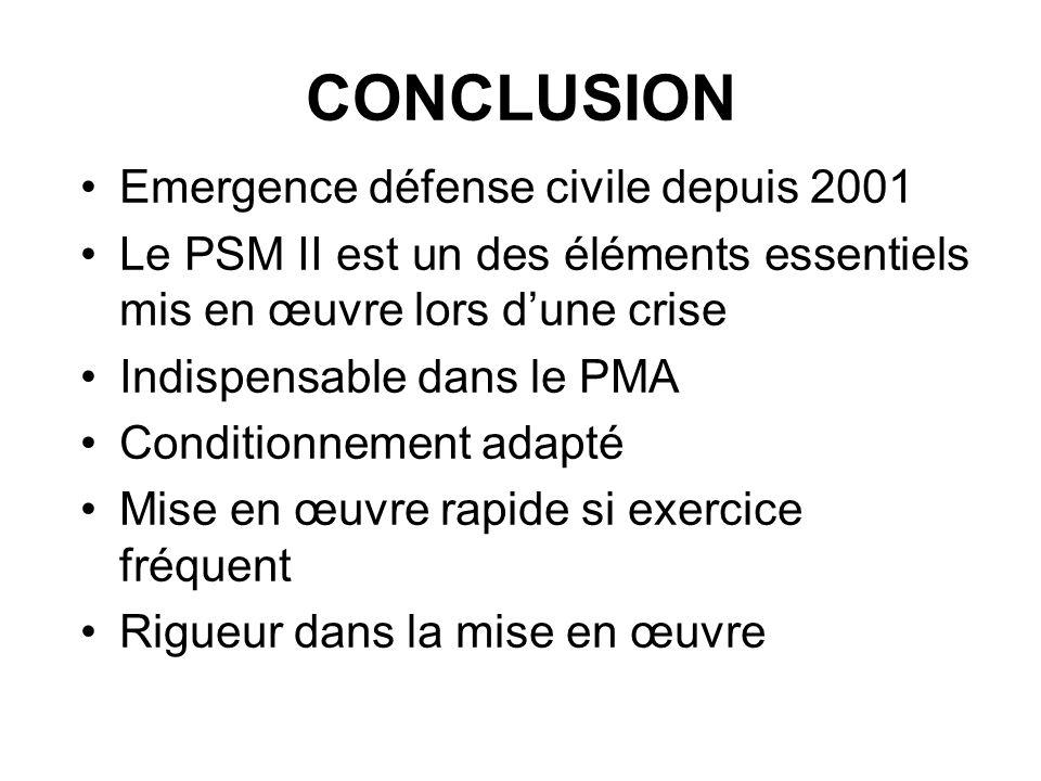 CONCLUSION Emergence défense civile depuis 2001 Le PSM II est un des éléments essentiels mis en œuvre lors dune crise Indispensable dans le PMA Condit