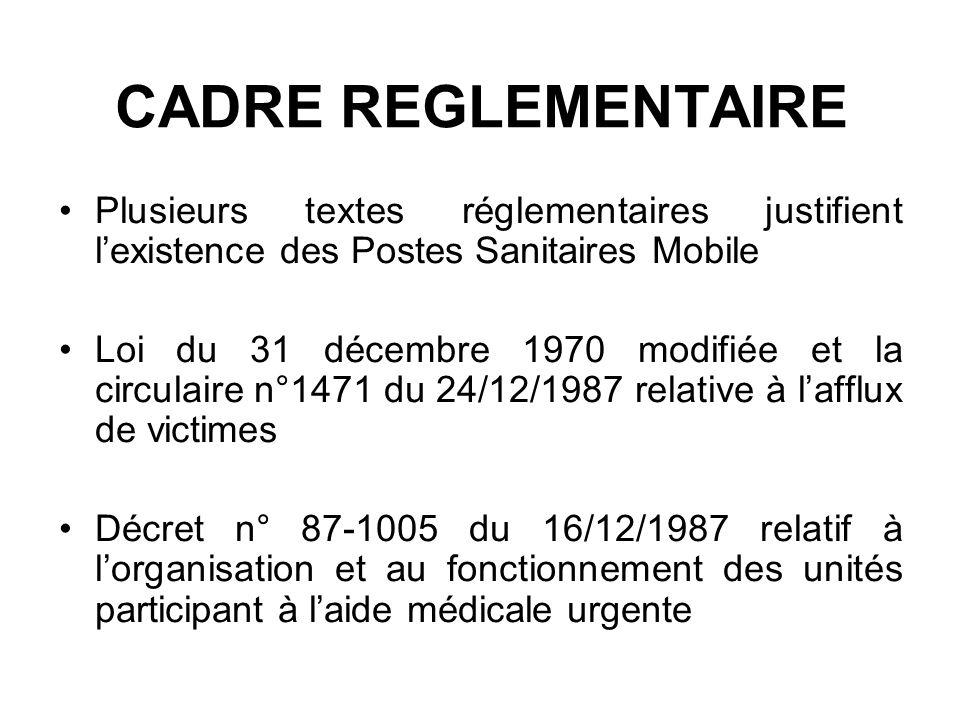 CADRE REGLEMENTAIRE Plusieurs textes réglementaires justifient lexistence des Postes Sanitaires Mobile Loi du 31 décembre 1970 modifiée et la circulai