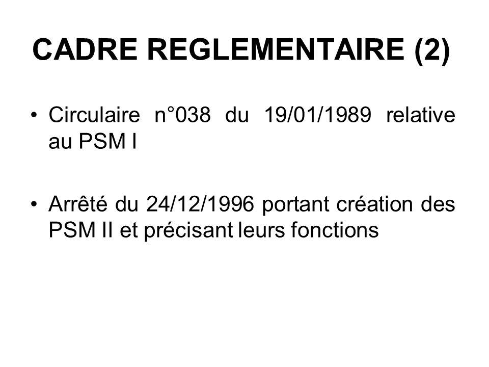CADRE REGLEMENTAIRE (2) Circulaire n°038 du 19/01/1989 relative au PSM I Arrêté du 24/12/1996 portant création des PSM II et précisant leurs fonctions
