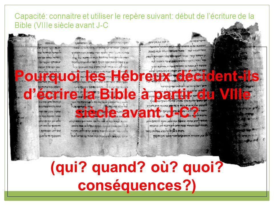 Menacés par de puissants voisins, les Hébreux du royaume de Juda comment à écrire la Bible à partir du VIIIe siècle afin de renforcer leur unité (culturelle et religieuse).
