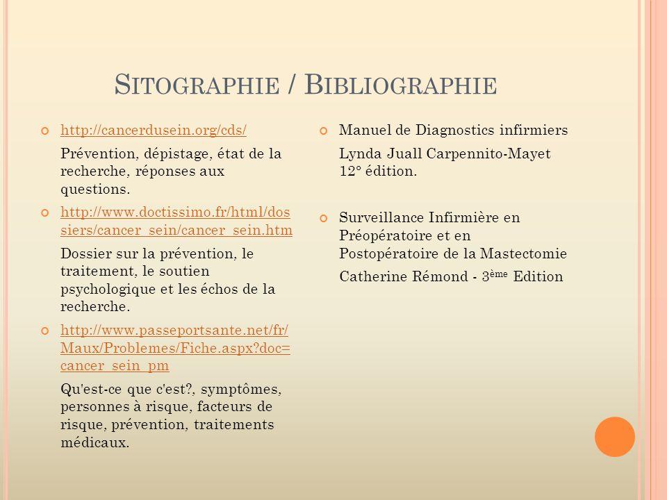 S ITOGRAPHIE / B IBLIOGRAPHIE http://cancerdusein.org/cds/ Prévention, dépistage, état de la recherche, réponses aux questions. http://www.doctissimo.
