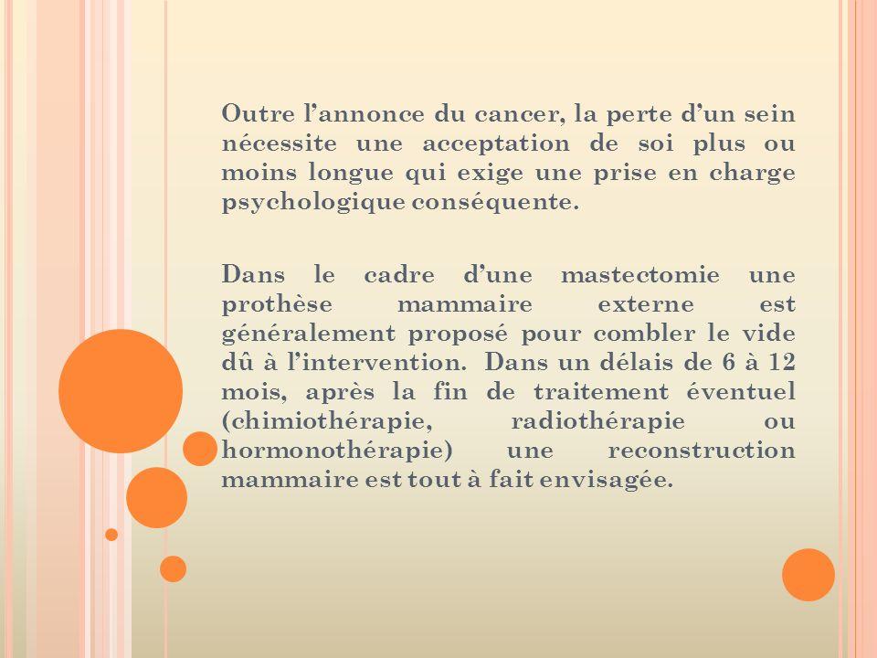 Outre lannonce du cancer, la perte dun sein nécessite une acceptation de soi plus ou moins longue qui exige une prise en charge psychologique conséque