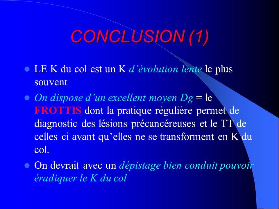 CONCLUSION (1) LE K du col est un K dévolution lente le plus souvent On dispose dun excellent moyen Dg = le FROTTIS dont la pratique régulière permet