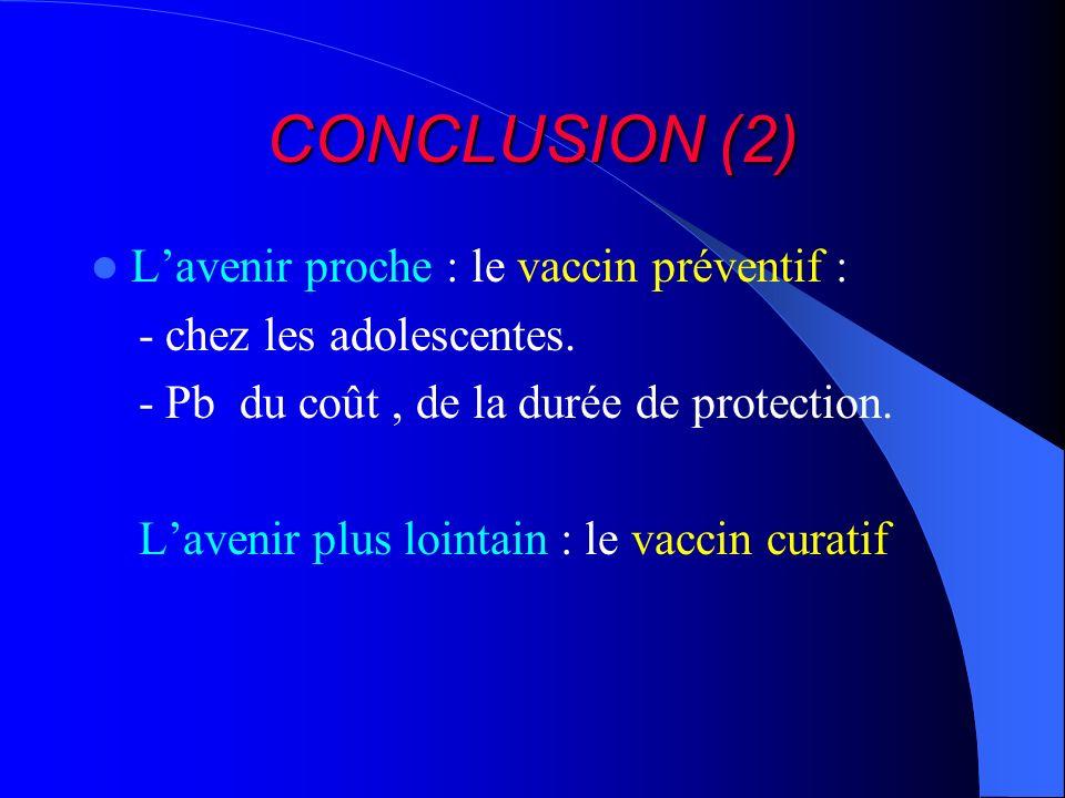 CONCLUSION (2) Lavenir proche : le vaccin préventif : - chez les adolescentes. - Pb du coût, de la durée de protection. Lavenir plus lointain : le vac
